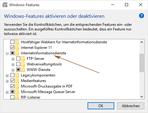 Windows-Features - Internetinformationsdienste